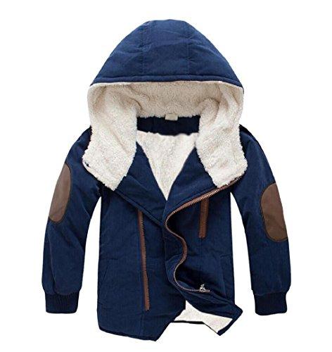 ZEZKT-Baby Jungen Mantel mit Kapuze | Kinder Baumwolle Kindermantel Langarm Outwear Wintermantel mit Kapuze Winterjacke (120 3-5Jahr, Marine)