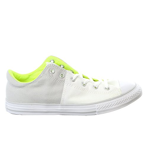Converse Kid's Boys Chuck Taylor All Star Madison Ox Fashion Sneaker Shoe, White/Mouse/Volt 4 (Kid Converse Sneakers)
