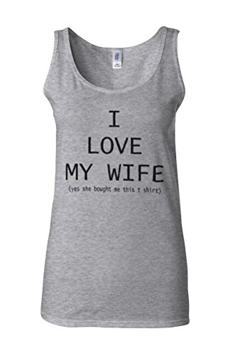 I Love My Wife Novelty White Femme Women Tricot de Corps Tank Top Vest Gris Sportif
