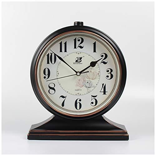 SMC Tischuhr Retro Europäischen Kunststoff Home Ruhig Dekorative Tischuhr (Color : Black, Größe : 32.5X27cm)