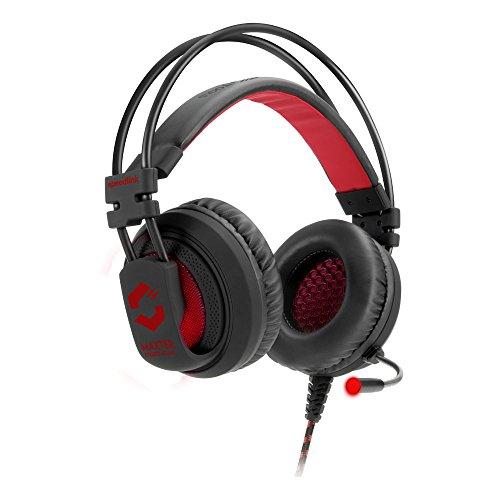 Speedlink MAXTER Stereo Gaming Headset - Kopfhörer für Gamer mit Stereo Sound (Tiefe voluminöse Bässe - Beleuchtete Ohrmuscheln - Stylishes Design) mit Klinkenstecker für PC/Notebook/Laptop, schwarz Stereo-gaming-kopfhörer