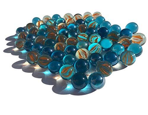 FAIRY TAIL & GLITZER FEE 100 Stück Glasmurmeln blau Katzenaugen rot Murmeln 16mm Glas-Steine Murmel Vasen-Füllungen Blaue bunt Murmeln Glitzersteine Dekoschalen Murmelspiel Glas