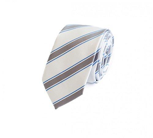 Preisvergleich Produktbild Fabio Farini schöne 6 cm Krawatte,  für jeden Anlass in weiß mit silbernen Streifen