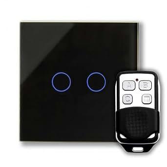 Retrotouch Interrupteur double tactile 2 voies au design innovant Verre noir