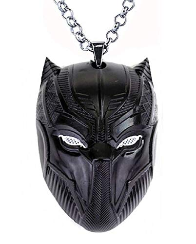 Jungen - Jungenkette - Herren - Jungen Halskette - Schwarzer Panther - Superhelden - Black Panter - Maske - Medaillon - Farbig - Verschleiern - Schwarze Farbe ()