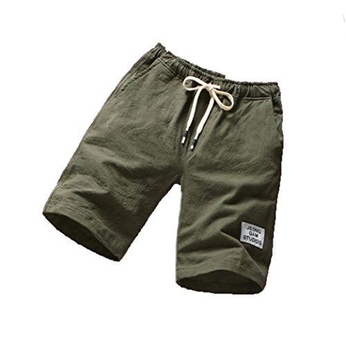 Kurze Hosen Herren Sommer LUCKYCAT Shorts Herren Sport Herren Strand Hosen Sport Fitness Lauf Casual Hosen Shorts Hose Sommerhosen Pants Hosen (L(AsianL=EUM), Armee grün) (Drawstring Leinen Mens)