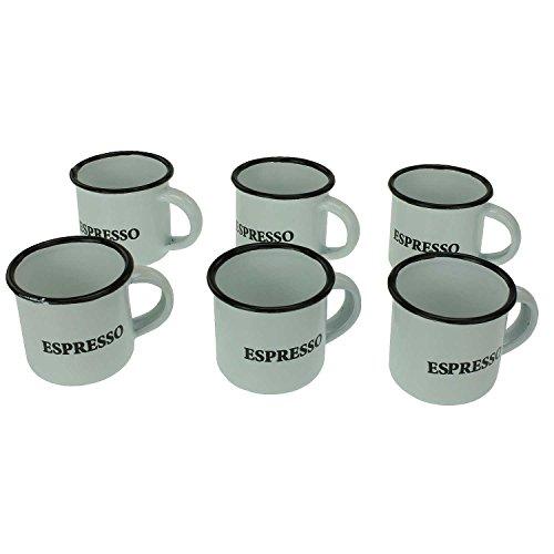 6er Set Emaille Espresso-Tassen in Vintage-Optik mit Henkel. Weiß mit schwarzem Rand / Espresso-Aufdruck Retro Shabby-Chic Espresso-Becher Mokka-Tasse mit Griff / 5cm hoch