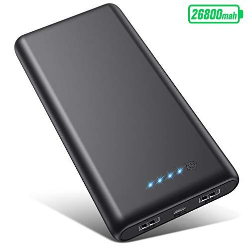 VOOE Batterie Externe 26800mAh, Power Bank【Certifié FCC et CE】 Ultra-Haute Capacité Chargeur Portable avec 2 USB Ports Haute Vitesse Batterie de Secours pour Smartphones et Tablettes
