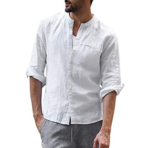 generisch Herren Leinen Freizeithemd Langarm Männer Sommer Hemd Casual Regular Fit Shirt Vintage Casual Reine Farbe Baumwolle Leinen Langarm Shirts Top Bluse (Männer Hemd Timberland)