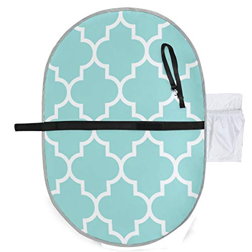 Urine pad Portable Diaper Changing Mat,Quatrefoil Lg Light Teal Mattress Sheet Protector Pee Pads Urine Mat Menstrual Pads for Baby and Adults