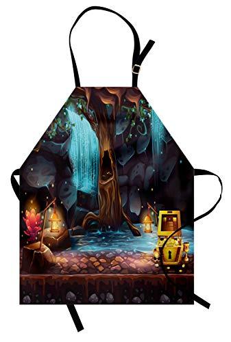 ABAKUHAUS Fantasie Kochschürze, Cartoon Style Cave Landschaft mit Einem großen Baum Schatzkiste Lampen und Wasserfall, Farbfest Höhenverstellbar Waschbar Klarer Digitaldruck, ()
