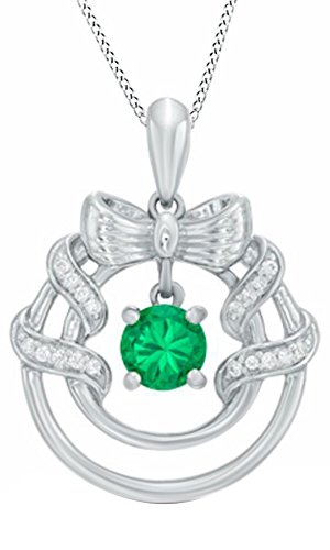 AFFY  -  925 Sterling-Silber  18K weißvergoldetes Silber Rundschliff   grün Diamant Émeraude  - Dancing Diamant-ring