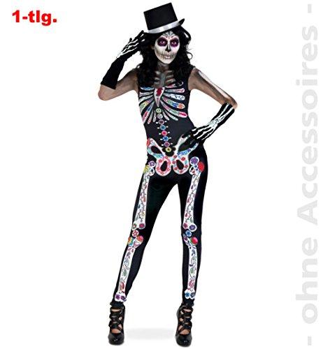 (Jumpsuit Catrina Zombie Halloween Horror Kostüm DIA DE LOS MUERTOS 1tlg mit Skelettdruck für Erwachsene M)