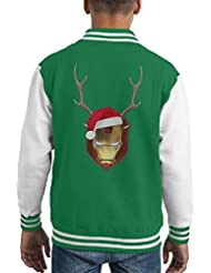 Iron Man Christmas Antler Head Kid's Varsity Jacket