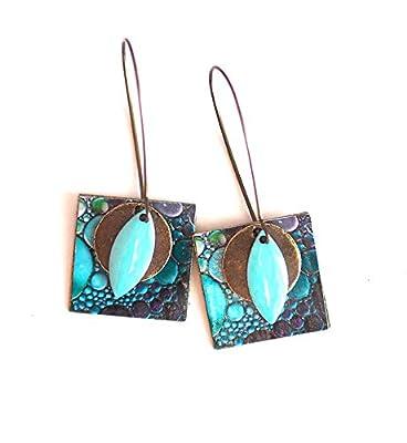Boucles d'oreilles, pendants, fantaisie, peinture bulles tons bleus, fait mains