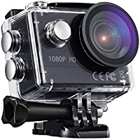 Action Sport-Kamera, VTIN Full HD 1080P 2,0 Zoll Action Cam 170 Ultra-Weitwinkel Wasserdicht Action Kamera Unterwasserkamera Helmkamera mit 1350mAh Akku für Radfahren Schwimmen Klettern Tauchen