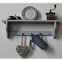 shakers shelf with 3, 4, 5 or 6 pegs for mugs or keys, grey