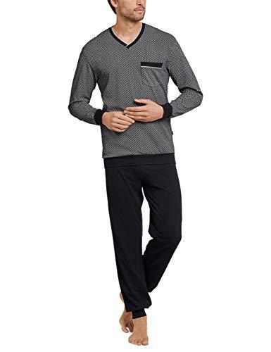 Schiesser Herren Anzug Lang Zweiteiliger Schlafanzug, Schwarz (Schwarz-Gem. 006), Medium (Herstellergröße: 050)
