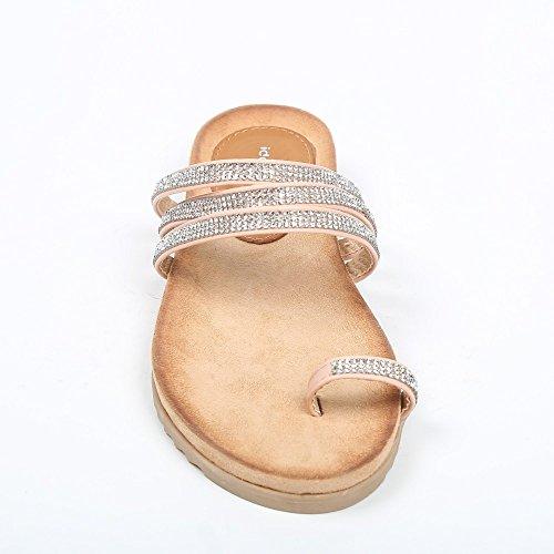 Ideal Shoes, Infradito strassées Feriela tripla con strisce Rosa (rosa)