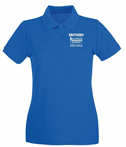 T-Shirtshock - Polo pour femme BEER0172 Bartender Only Because Freaking Awesome Bleu Royal