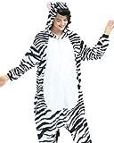 Jumpsuit Tier Pyjama Tierkostüme Erwachsene Schlafanzug Unisex Cosplay Schlafoveralls Nachtwäsche Zebra XL(Höhe 173-183cm)