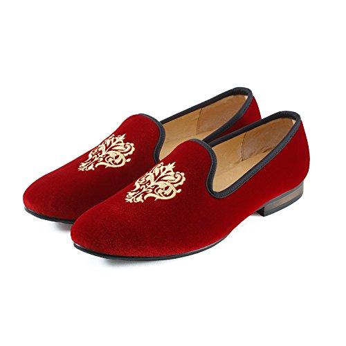 Veste en velours vintage Flâneur hommes broderie Noble Hommes Chaussures à enfiler Flâneur fumer Chaussons Noir/Bleu Rot Rebe