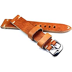 18mm 18/16mm Rio S1836Tan Cowhide Military Style Bracelet Retro Look Quality Aviator Strap Top Quality Strong