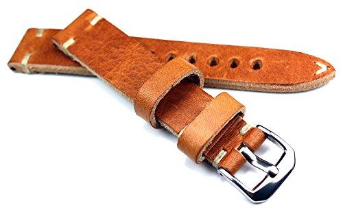 19mm 19/16mm RIOS1931 hell braun kräftiges Rindsleder Military Style Armband Retro Look quality STRAP Flieger Band Top Qualität
