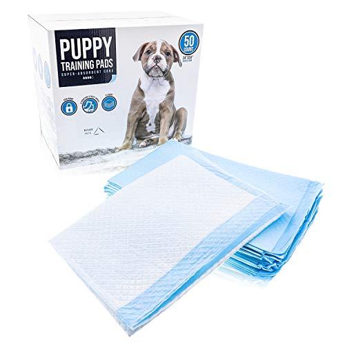 Ryher tappetini assorbenti per cuccioli e da addestramento - Tappetini 6 strati super assorbenti con 4 nastri adesivi - Assorbe fino a 1200ml - confezione da 50 pz.