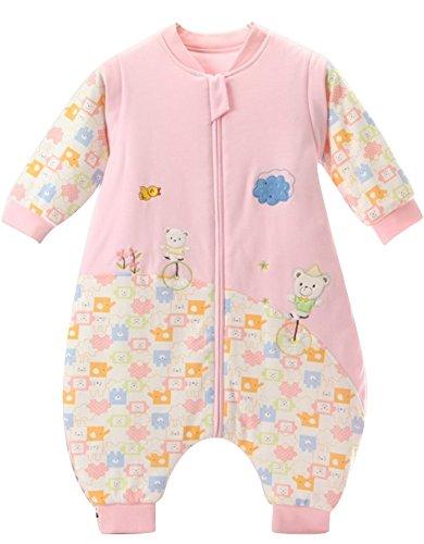 schlafsack baby Mädchen Rosa Bär winter babySchlafsack ganzjahres Baumwolle Junge unisex Overall Schlafanzug.2.5tog. (6-18 Monate, Rosa)