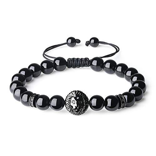 Imagen de coai® pulsera de piedra natural turmalina con cabeza de león para hombre