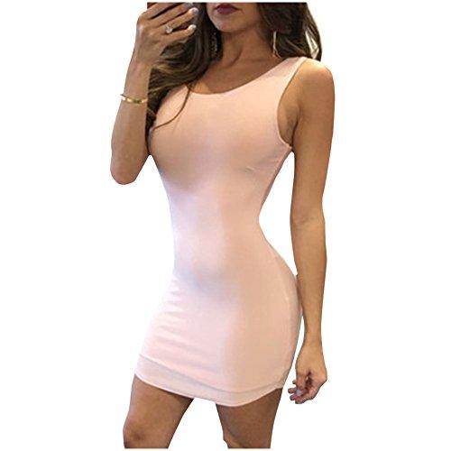 Damen Sommerkleider IHRKleid® Round Neck Tight Vest Halter Dress Pink