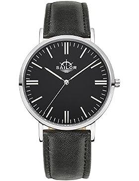 Sailor Armbanduhr Classic Basic black silber mit schwarzen Lederarmband, Farbe Ziffernblatt:schwarz, Durchmesser...