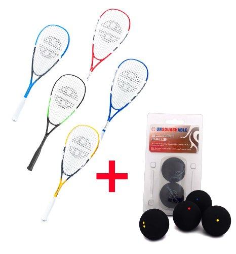Unsquashable Squashset! 2x Squashschläger und 3x Squashbälle !