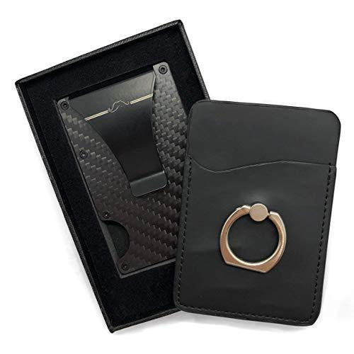 Premium Kreditkartenetui mit Geldklammer Carbon - RFID Schutz - Geldbörse, Kreditkarten Etuis, Slim Wallet, Portmonee, Geldbeutel - bis 16 Karten [Gratis Selbstklebende Kartenhalter für Handy inkl.]
