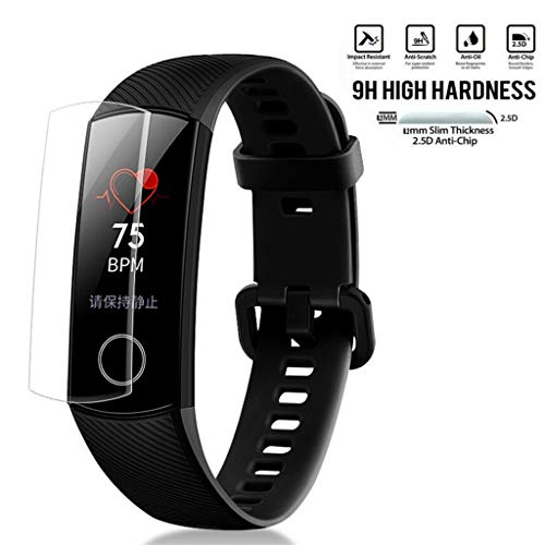 Schutzfolie Panzerglas für Huawei Honor Band 4,Bloodfin Wasserdichtes gehärtetes Glas Bildschirmschutzfolie [9H Härte] [Anti-Kratzen] [Anti-Öl][High Sensitivity] [HD Clear] [Anti-Bubble] (5 Pack)