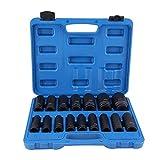 Douilles à Choc Hexagonale, 16 Pièces 1/2 Pouce Jeu de Douilles à Impact 6 Pans Outil de Réparation Air Drive Kit 10MM-32MM