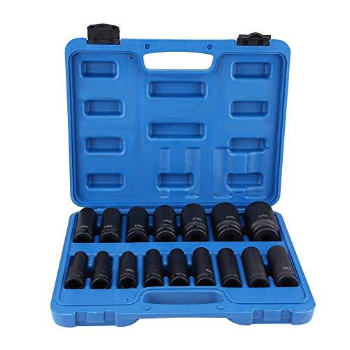 Schlagschrauber Satz, 16-tlg10-32mm Innensechskant Bit Set Sechskant Nüsse Steckschlüssel-Satz mit 1/2 Zoll Laufwerk - Steckschlüssel-bit-satz Schlagschrauber