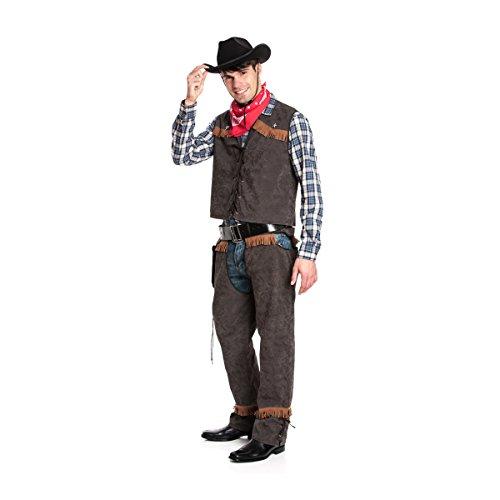 Kostümplanet® Cowboy-Kostüm Herren mit Weste und Chaps + Halstuch Größe 60/62 (Cow Boy Kostüm)