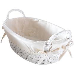 Panier blanc, ovale osier, blanc cérusé, doublé tissu