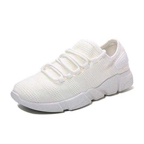 Uomo Scarpe da Ginnastica Sneakers, Gracosy Scarpe Running Uomo Respirabile Mesh Scarpe da corsa all'aperto Sneakers Sportive Outdoor Tennis Running Bianco 44 EU