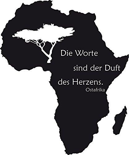 GRAZDesign Wanddekoration Wandtattoo Spruch - Wandtatoo Schriftzug - Geschenke für Eltern Afrika - Wanddeko Landkarte / 68x57cm / 070 schwarz