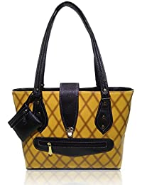 AZED Collection Leather Handbag With 2 Compartments & 7 Pockets Includedincluded (Yellow)