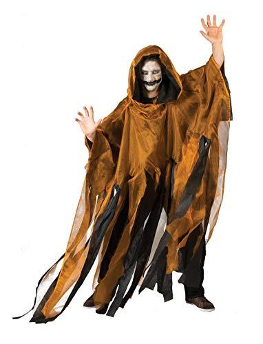 Männer 54 Studio Kostüm - Luxuspiraten - Herren Männer Kostüm Hochwertiger Gespenster-Umhang mit Kapuze Geist Ghoul mit Fransen, perfekt für Halloween Karneval und Fasching, One Size, Orange