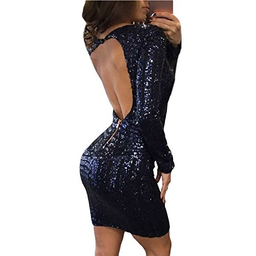 Europe et les États-Unis New Fashion Women's Sequins col rond manches longues robe Blue
