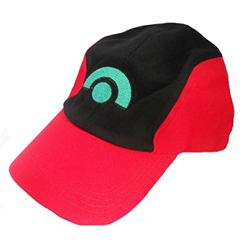 Pokemon Ash Ketchum Trainer rot schwarz Kostüm Cosplay Baseball Hat Gap summber Sun Kids verstellbar Rot Trainer Hat