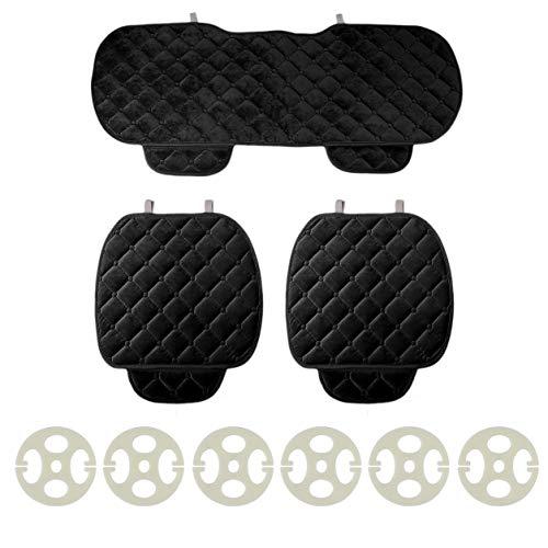 3 pezzi/set cuscino del sedile auto anteriore posteriore coprisedili auto veicoli sedia pad mat, nero