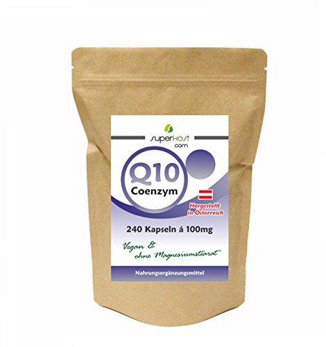 SUPERKOST Coenzym Q10 - CoQ10 - 240 Kapseln mit je 100mg, 8 Monatspackung, Anti Aging, Haut, Herz, Kreislauf, Immunsystem, vegetarisch, Hergestellt in Österreich