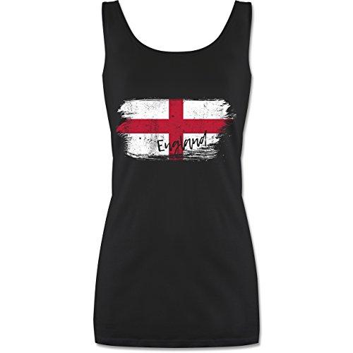 Shirtracer Fußball-Europameisterschaft 2020 - England Vintage - L - Schwarz - P72 - lang-geschnittenes Tanktop für Damen
