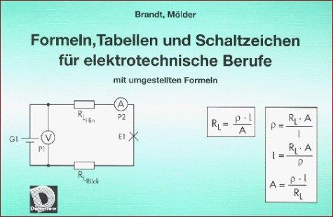 Formeln, Tabellen und Schaltzeichen für elektrotechnische Berufe mit umgestellten Formeln